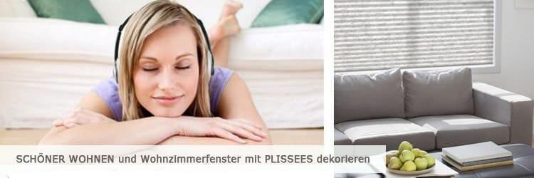 Wohnzimmer beschatten mit Plissee von www.plissee-experte.de