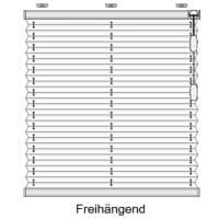 Ein frei hängendes Plissee ist unten frei bedienbar
