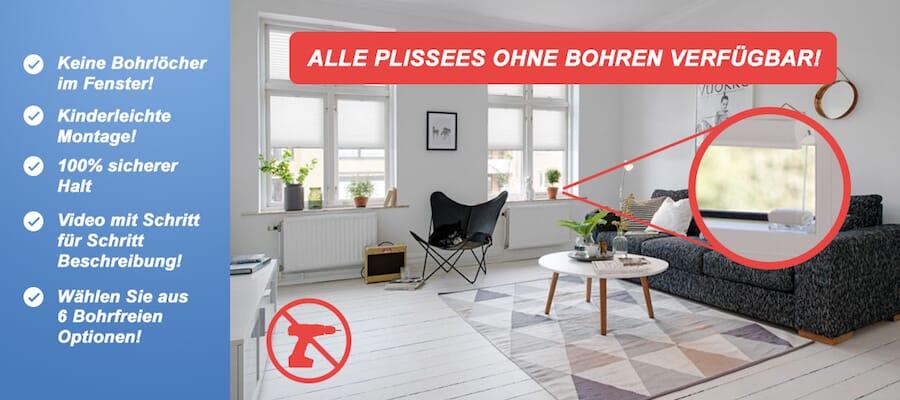 Plissee ohne bohren günstig auf Maß: Plissee-Experte.de mit 100% Tiefstpreisgarantie