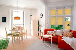 Plissee Faltstore gelb im Wohnzimmer